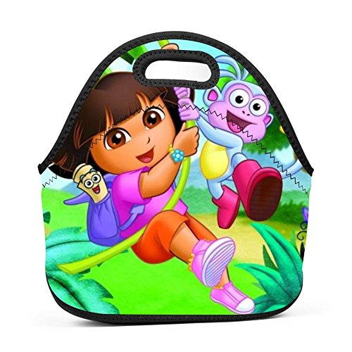 BLKDA25B Resistant Portable Lunch Bag Dora Explorer Carry Case Tote With Zipper Strap Box Cooler Container Bags Picnic Outdoor Travel Fashionable Handbag Pouch For Women Men Kids Girls