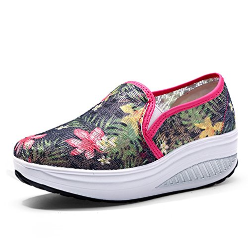 CYBLING Womens Flower Breathable Outdoor Sports Running Shoes Slip On Fashion Wedge Sneaker Black fsioPqY