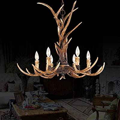EFFORTINC Vintage Style Resin Antler Chandelier 6 Lights,Living room,Bar,Cafe, Dining room, Bedroom,Study,Villas,American Retro Deer Horn Pendant Lights