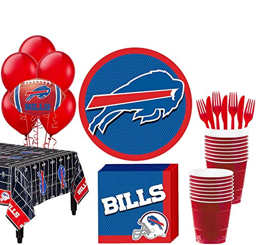 Party City Buffalo Bills Super Party Supplies for 18 Guests, Include Plates, Napkins, Table Cover, Cups, and Balloons]()