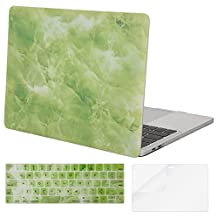 Mosiso Plastic Hard Case with Keyboard Cover with Screen Protector for Newest MacBook Pro 15 Inch (A1707 with Touch Bar, 2017 & 2016 Release), Green Marble