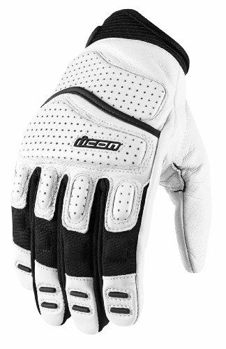 Icon Mens Superduty 2 Motorcycle Gloves White Medium M