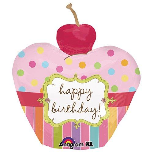 - Anagram 24474 Cherry Birthday Cupcake Foil Balloon 24