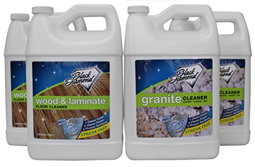 (Black Diamond Wood & Laminate Floor Cleaner: For Hardwood, Real, Natural & Engineered Flooring -Biodegradable Safe for Cleaning All Floors. AND Black Diamond Stoneworks Granite Cleaner : Natural Stone, Marble, Travertine, Tile, Silestone, Cambria, Caesarstone, Zodiaq , Concrete Countertops & Antiques.(2, 2-Gallons))