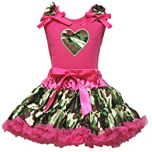 Camo Dress Camouflage Heart Hot Pink Cotton Shirt Skirt Set Girl Clothing 1-8y