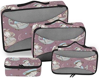 かわいいキッズパープルムーンクジラ荷物パッキングキューブオーガナイザートイレタリーランドリーストレージバッグポーチパックキューブ4さまざまなサイズセットトラベルキッズレディース
