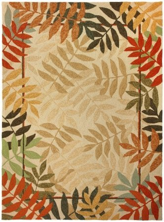 Homefires Painted Rain Forest 3-Feet by 5-Feet Indoor Outdoor Hand Hooked Area Rug For Sale