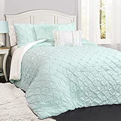 Lush Decor Décor Ravello Pintuck 5 Piece Comforter Set, Full/Queen, Light Aqua