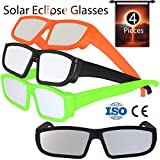 Solar Eclipse Glasses 2017 (4 Pack) - Direct Sun Viewing 100% Safe Eyewear CE and ISO Certified - Protection Shades Designed in USA by CreativeXP (Colored)