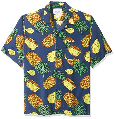 28 Palms Men's Relaxed-Fit Vintage Washed 100% Rayon Tropical Hawaiian Shirt, Blue Pineapple, Large ()