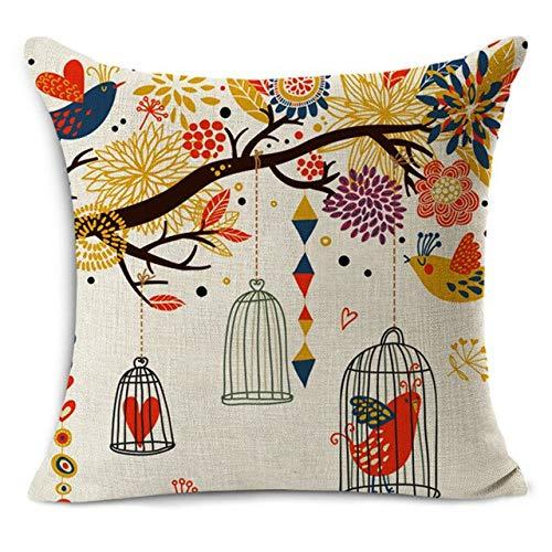 LINGKEAI Cojín Asiento de Coche Cojín de Lino Bird Parrot Al ...