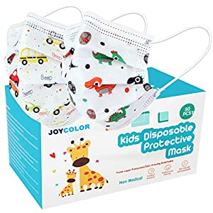 Best Epic Trends 515ec9y%2BrOL._SS300_ JOYCOLOR Cute kids face mask,Children's 3 Ply Protective Earloop Disposable Filter Masks with Dinosaur & Car Print for…