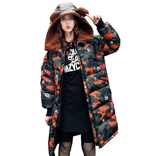 曲線塩辛いロッカー[美しいです] レディース コート フード付き ひざ丈 かわいいみみ 冬 軽量 厚手 防寒 防風 カジュアル ダウンコート 保温性 迷彩