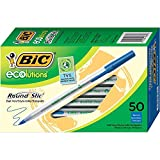 BIC Ecolutions Round Stic Ballpoint Pen, Blue Ink, 1mm, Medium, 50/Pack (GSME509BE)