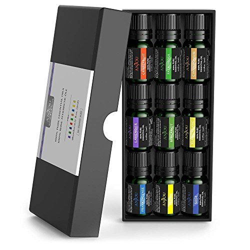 - Anjou Essential Oils Set 100% Pure Aromatherapy Oil Kit (Lavender, Bergamot, Sage, Grapefruit, Palmarosa, Cinnamomum, Frankincense, Lemon & Ylang Ylang) - Gift Set, 9 x 5 ml
