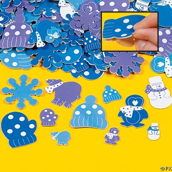 500 Foam WINTER Sticker SHAPES/Craft/SNOWFLAKE/Snow Snowman/MITTENS