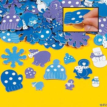 500 Foam WINTER Sticker SHAPES/Craft/SNOWFLAKE/Snow Snowman/MITTENS