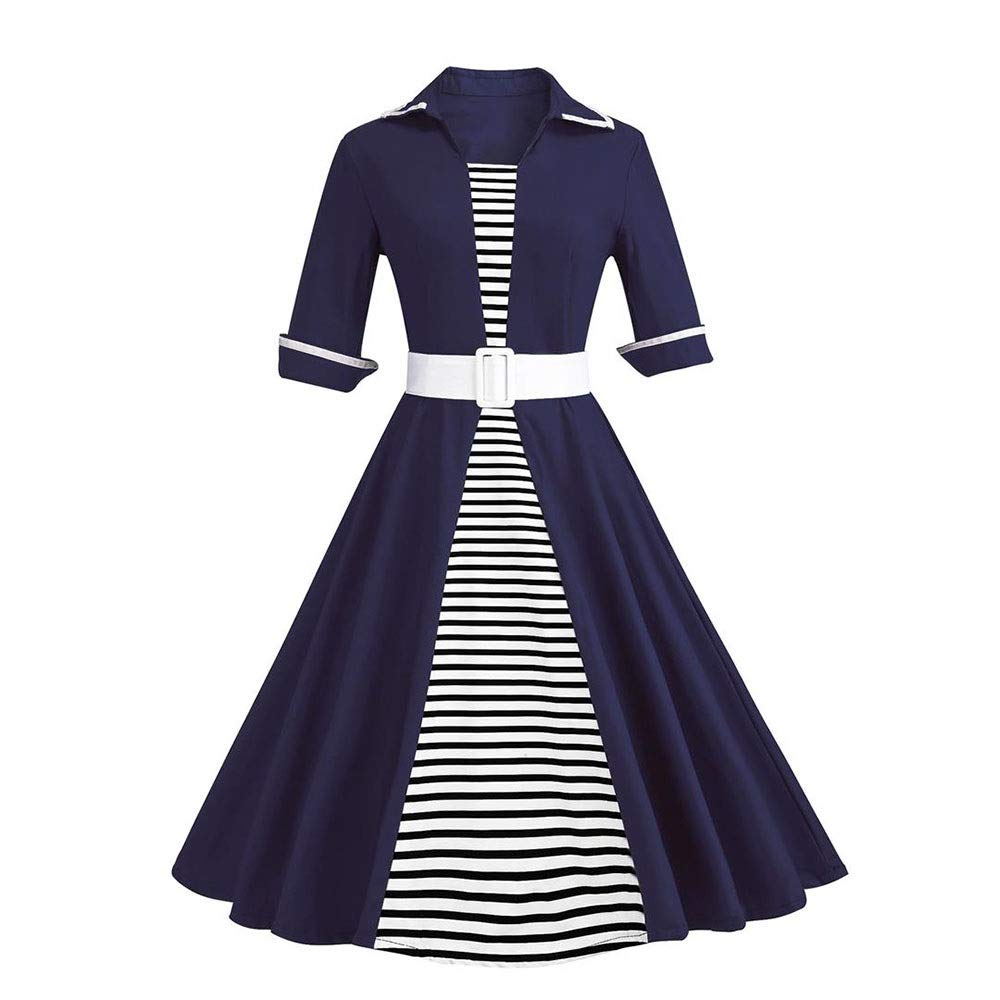 bluee Sylviaan YY6 Women's Lapel Neck Short Sleeve Retro Stripe Swing Dress with Belt