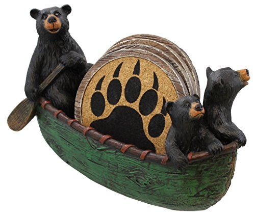 3 Black Bears Canoeing Coaster Set - 4 Coasters Rustic Cabin Green Canoe Cub Decor by Old River Outdoors