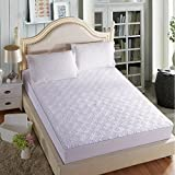 wonbye Mattress Pad Cover Down Alternative Mattress Topper Hotel Luxury Collection 300 Thread 100% Cotton (White / Queen)