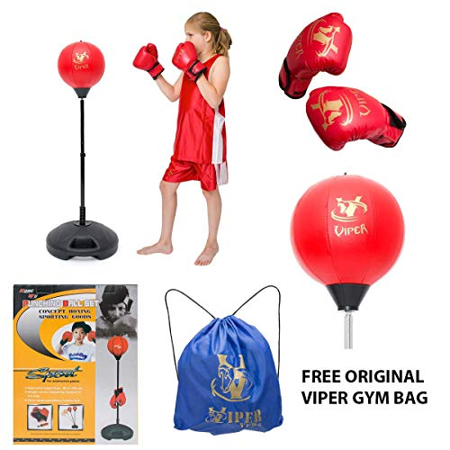 Viper Children Kids Punching Boxing Speed Ball fitness Standing Bag Tumbler Agility Stand Boy Sandbag Boxing Glove Set Sport Toy