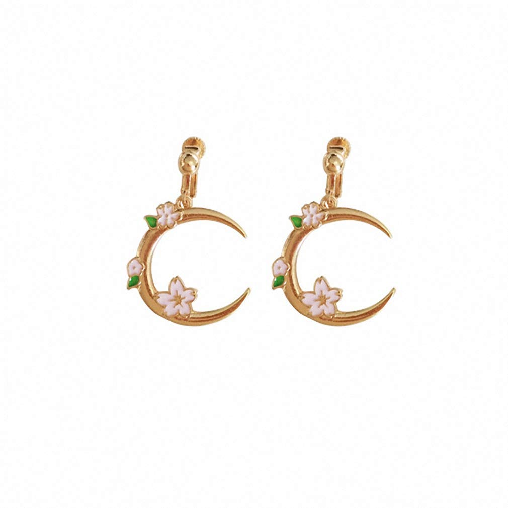 Womens Drop Dangle Earrings Sweet Girl Romantic Cherry BlossoMoon Eardrop Temperament Contracted Creative Fashion Earrings Ear Clip