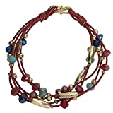 Leather Multi 5 Cord Gold Tone Glass Beaded Hook Bracelet (Red)