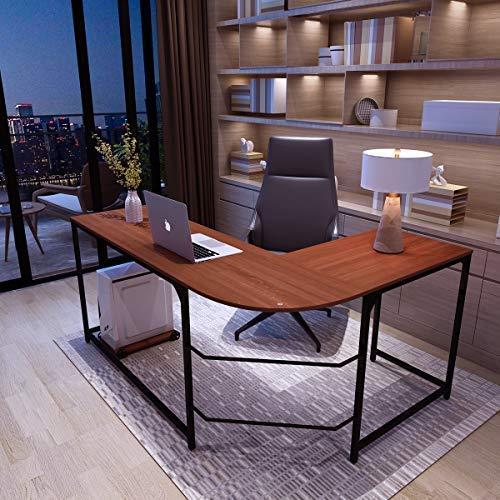 L-Shaped Corner Desk Modern Computer Table, Simlife Office Standard PC Laptop Table with Reversible Tabletop Adjustable Leg Wooden Home School Workstation Lightweight Simple Double Study Desks