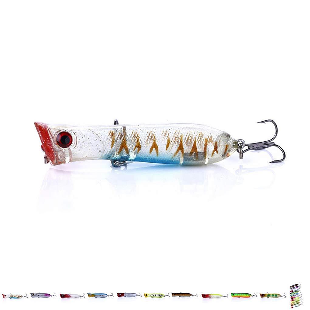 10pcs 8cm Popper Gancho de Pesca se/ñuelos de pl/ástico de simulaci/ón Artificial 3D Fish Bait Bait Mar Laileya 1pcs