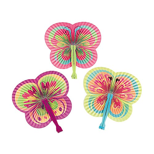 Fun Express - Butterfly Shaped Folding Fans for Party - Party Supplies - Favors - Fans - Party - 12 -