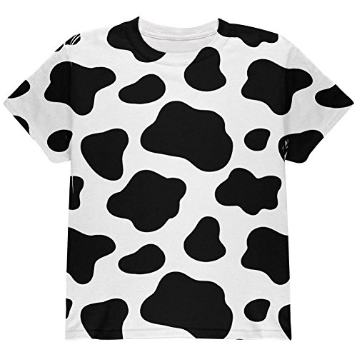 Animal World Cow Pattern Halloween Costume All Over Youth T Shirt Multi YXL -