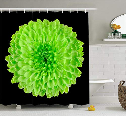 ASOCO Fabric Shower Curtain Lime Green Chrysanthemum Flower Black Yellow Bathroom Shower Curtains Resistant Waterproof Set of Hooks 72X72 Inches (Green Black Curtains Lime And)
