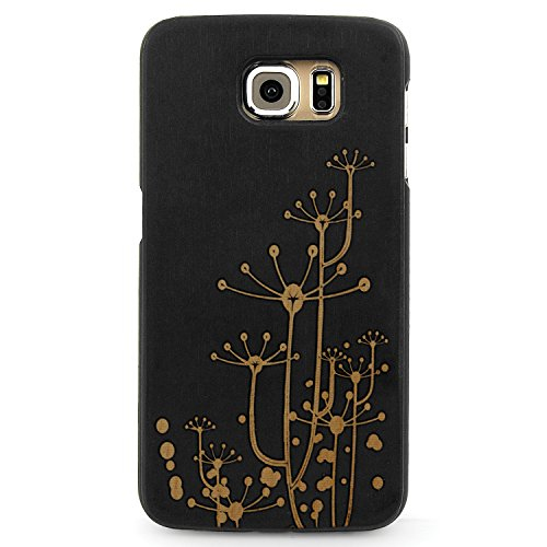 Laser Engraved Wood Case for Apple iPhone Samsung Galaxy Floral Summer Flower Daisy Dandelion for Galaxy S6 Black Case