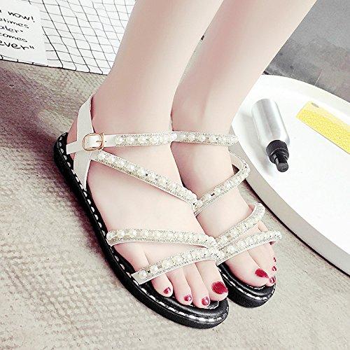 RUGAI-UE Perla de verano estudiantil Toe Sandals zapatos simple White