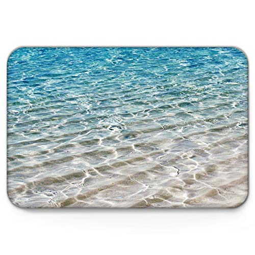 Doormats Seashore Shoal Beach Clear Water Welcome Mats 20'' x 31.5'', Non Slip Backing Rubber Shoes Scraper Mud Dirt Scraper Entrance Mats Rugs for Indoor Floor Front Door Kitchen Bathroom Bedroom
