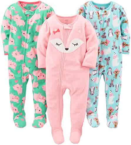 Simple Joys by Carter's Girls' 3-Pack Flame Resistant Fleece Footed Pajamas