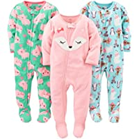 Girls' 3-Pack Flame Resistant Fleece Footed Pajamas