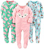 Simple Joys by Carter's Baby Girls' Toddler 3-Pack Flame Resistant Fleece Footed Pajamas, Polar Bear/Pigs/Fox, 2T