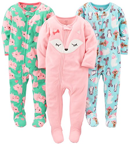 Simple Joys by Carter's Baby Girls' Toddler 3-Pack Flame Resistant Fleece Footed Pajamas, Polar Bear/Pigs/Fox, 4T