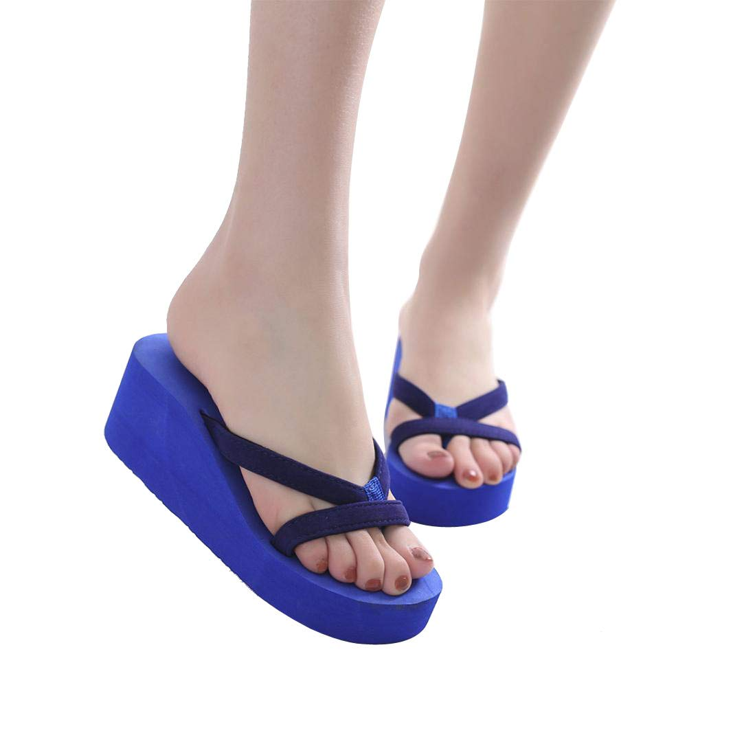 BEAUTYVAN Women's Beach Flip Flops Summer Ladies Platform Wedge Slippers Beach Sandals Shoes Blue