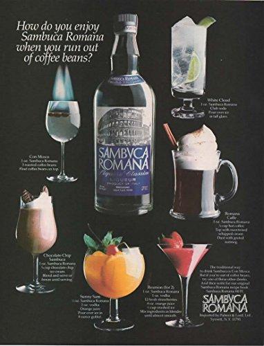 - Magazine Print Ad: 1982 Sambuca Romana Liquore Classico, 6 recipes,