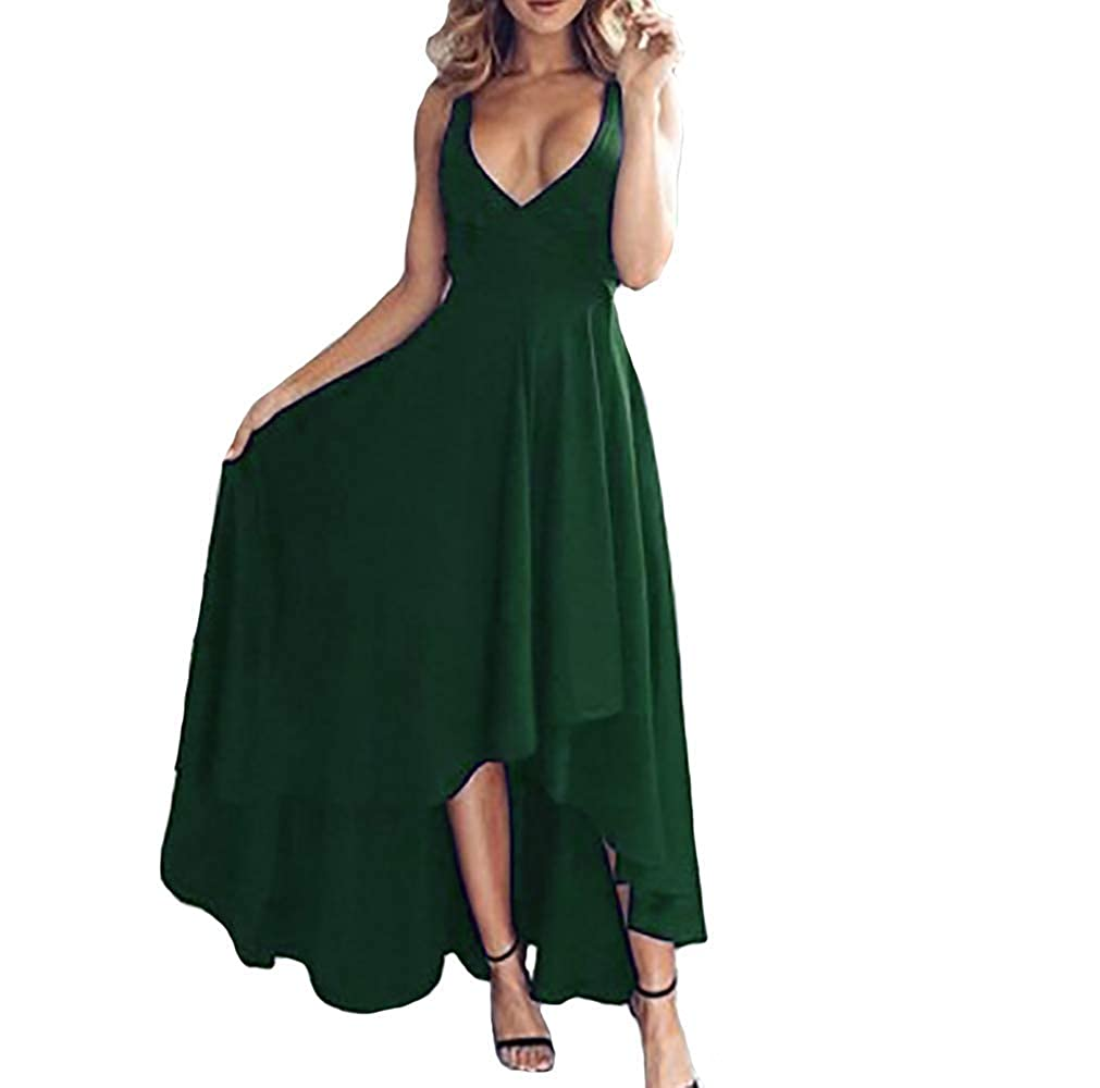 Dark Green IVYPRECIOUS Women's V Neck A Line Prom Dresses Sexy High Low Formal Party Dresses Evening Gowns