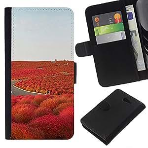 KLONGSHOP // Tirón de la caja Cartera de cuero con ranuras para tarjetas - Camino de la Libertad Islandia púrpura - Sony Xperia M2 //