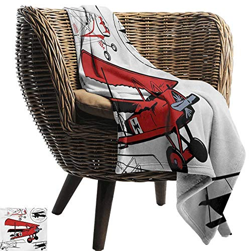 (BelleAckerman Baby Blanket,Vintage Airplane,Collection of Various Biplanes Nostalgic Antique Silhouettes Print,Red White Black,Super Soft Light Weight Cozy Warm Plush Hypoallergenic Blanket 30