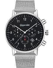 Gigandet, Minimalism II, orologio da polso da uomo in acciaio inox, due fusi orari GMT, analogico, data, cinturino a maglia milanese in acciaio inox, argento e nero, G21-006