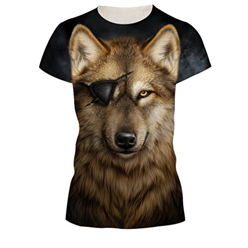 Shirt T Stampato Wolf da 3D Eye e Unisex Tees Uomo Corta Casual nbsp; Maglietta Manica OYABEAUTYE Donna 0wXfIqZ