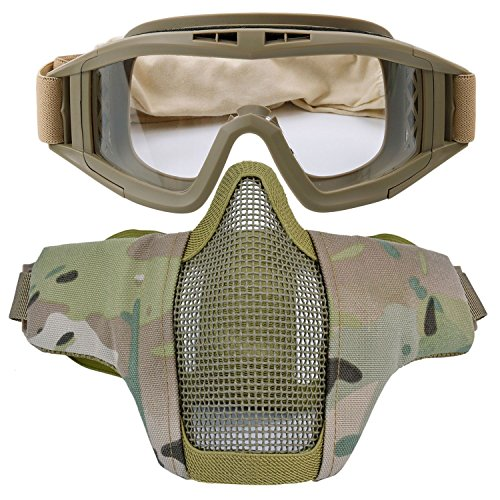 Kapmore Airsoft Mask, Paintball Mask Strike Steel Half Face Mask Outdoor...