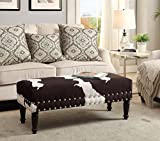 Convenience Concepts Designs4Comfort Faux Cowhide Bench with Nailheads