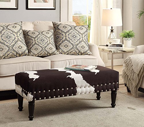 Convenience Concepts Designs4Comfort Faux Cowhide Bench with Nailheads (Cow Ottoman Print)