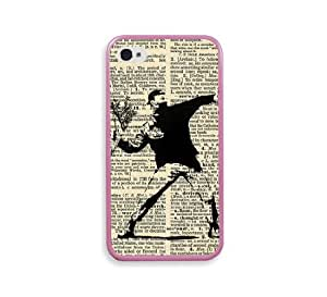 Banksy Flower Dictionary Pink Silicon Bumper iPhone 4 Case Fits iPhone 4 & iPhone 4S
